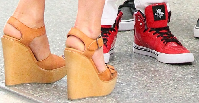 A closer look at Victoria's tan spring wedge sandals