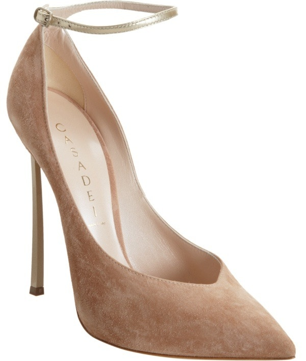 Nude Casadei Blade Heel Pump With Ankle Strap