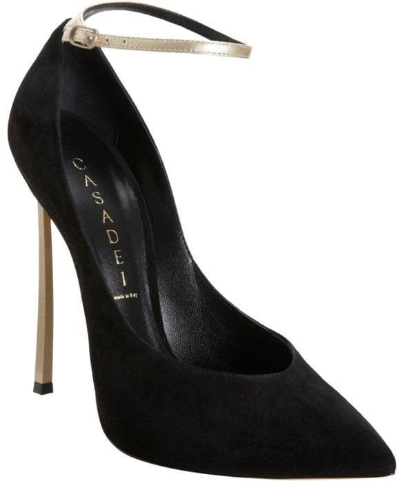 Black Casadei Blade Heel Pump With Ankle Strap
