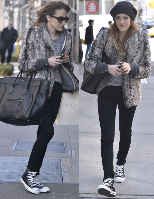 Actress Carly Chaikin wears black skinnies with a fur jacket