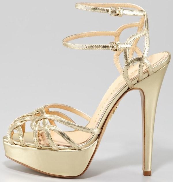 Charlotte Olympia Ursula Metallic Strappy Platform Sandals
