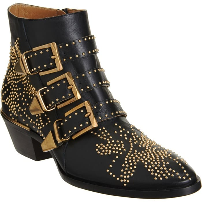 Chloe Susan Studded Ankle Boots in Black