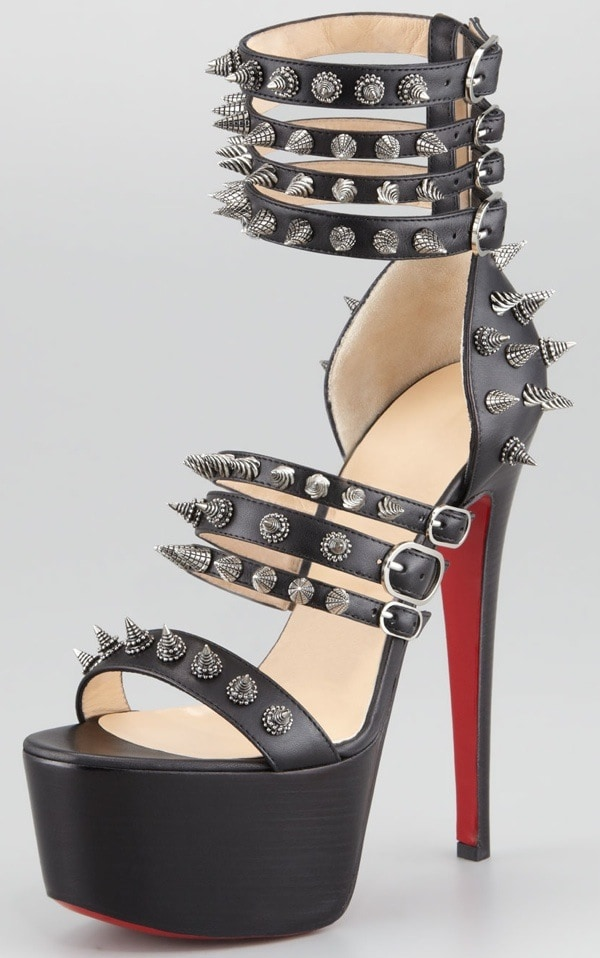 Christian Louboutin Botticellita Spiked Platform Sandals in Black