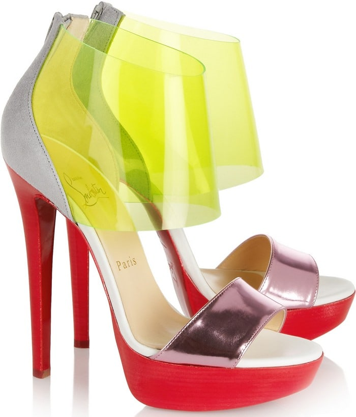 Christian Louboutin Pink Dufoura Metallicleather Pvc and Suede Sandals