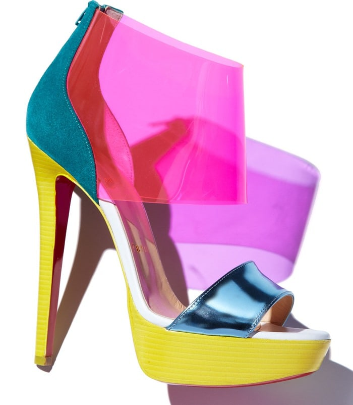 Christian Louboutin Purple Dufoura Opentoe Red Sole Bootie