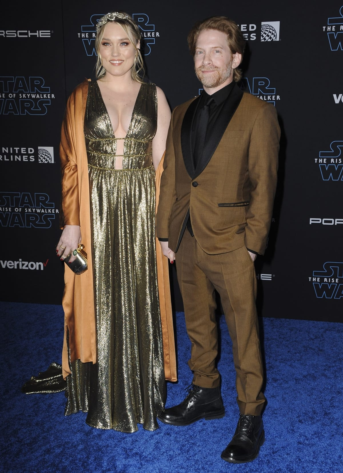 """Actress Clare Grant (L) and actor Seth Green attend the premiere of Disney's """"Star Wars: The Rise of Skywalker"""""""