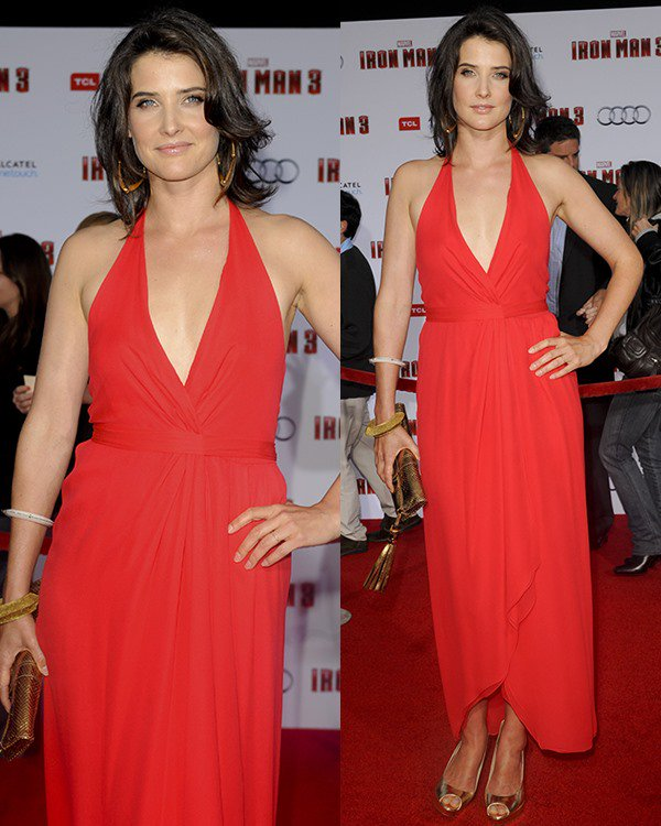 Cobie Smulders in a red Halston gown at the Iron Man 3 premiere held at the El Capitan Theatre in Los Angeles on April 24, 2013