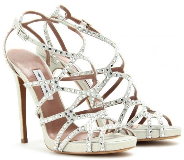 'Dee' sandals featuring an intricate strap design and sparkling crystals all over