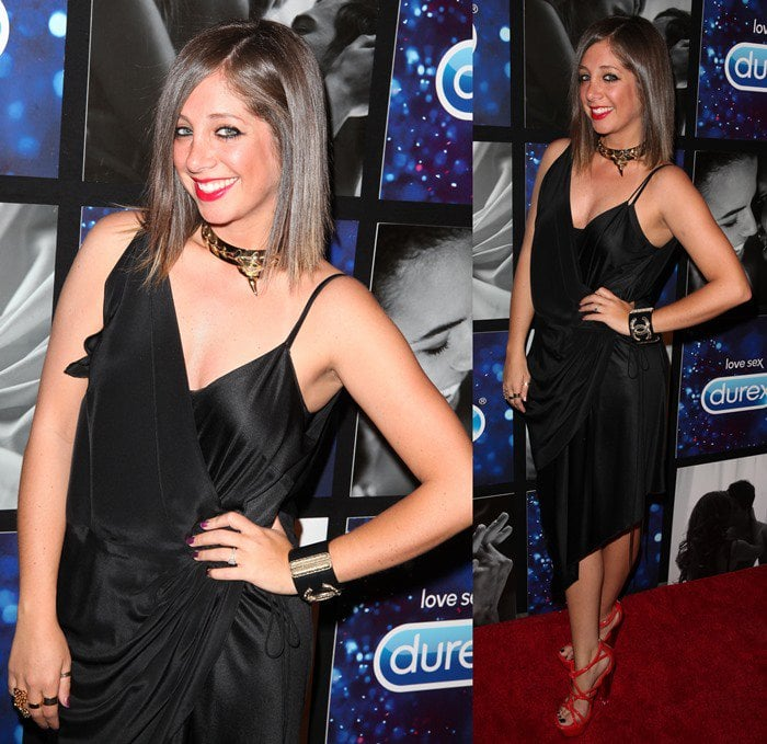 DJ Lindsay Luv flaunts her legs in a black dress at the Hotel Durex Charity Event Benefiting dance4life