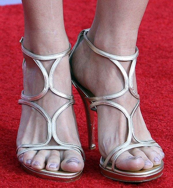 Debby Ryan shows off her toes in metallic sandals