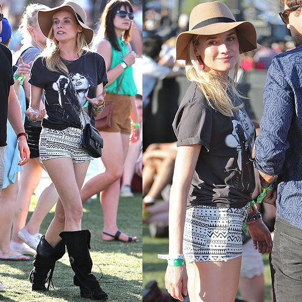Diane Kruger's outfit here is something Vanessa Hudgens has worn to Coachella before