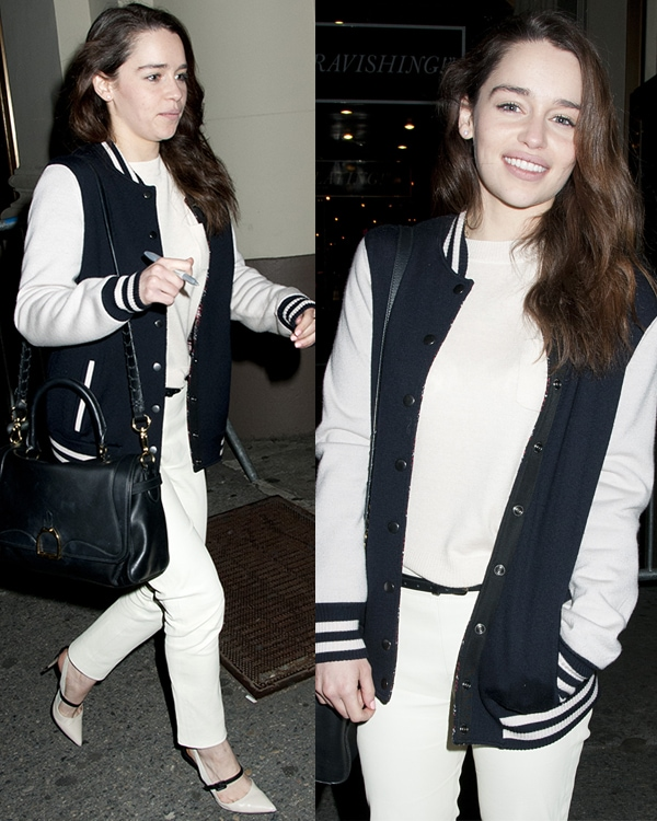 Emilia Clarke at Stage Door of Breakfast at Tiffany's at the Cort Theater on April 9, 2013