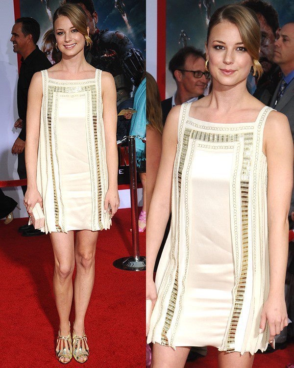 Emily VanCamp channeled a retro look at the Iron Man 3 premiere held at the El Capitan Theatre in Los Angeles on April 24, 2013