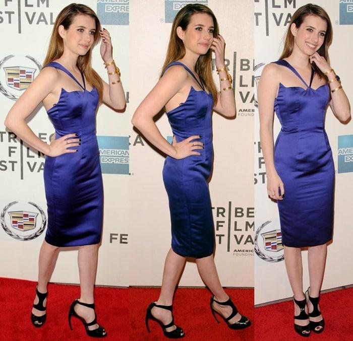 Emma Roberts in a blue Cushnie et Ochs dress and Walter Steiger heels