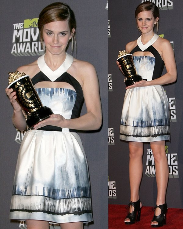 Emma Watson at the 2013 MTV Movie Awards held at Sony Pictures Studios on April 14, 2013