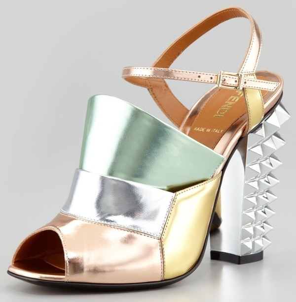 Fendi Runway Mirrored Pyramid Stud-Heel Sandals in Silver Rose and Mint
