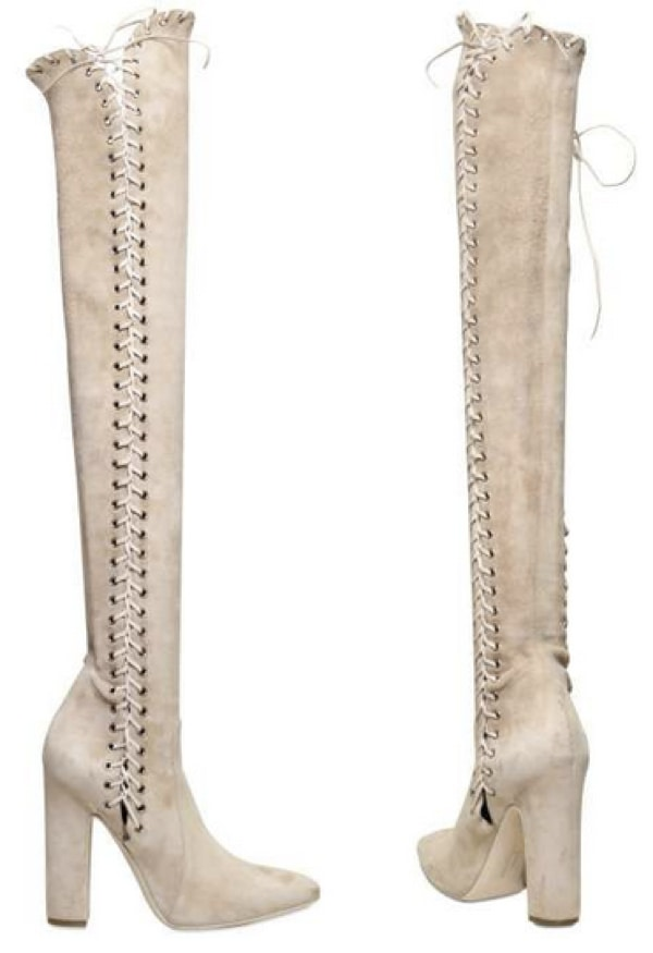 Salvatore Ferragamo 110mm Sakis Suede Corset Lace High Boots