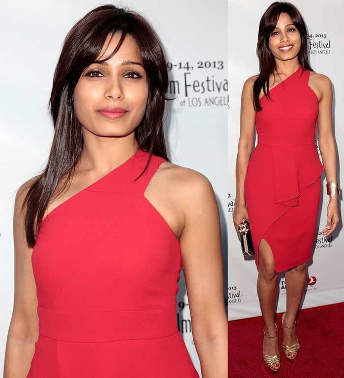 Freida Pinto in red asymmetric dress from the Rachel Roy Spring 2013 collection
