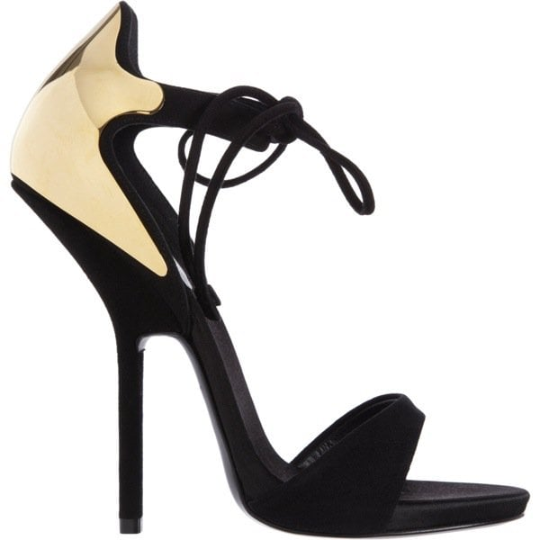GIUSEPPE ZANOTTI Plated Heel Tie-Front Sandal $1,250 Outstep