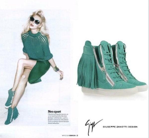 Giuseppe Zanotti's green sneaker wedges in Cosmopolitan Greece