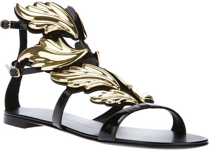 Giuseppe Zanotti Black Winged Panel Gladiator Sandal