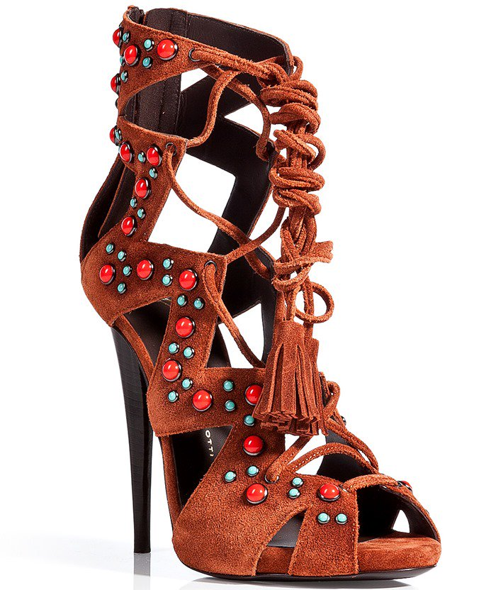 Giuseppe Zanotti Brown Suede Embellished Laceup Gladiator Stiletto Sandals