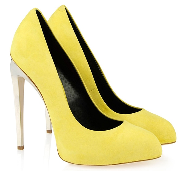 Giuseppe Zanotti Spring 2013 Suede Pumps in Yellow