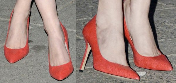 Gretchen Mol in red patent leather pumps for the Vanity Fair 2013 Tribeca Film Festival Party on April 17, 2013