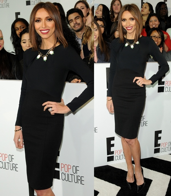 Giuliana Rancic looked extremely thin in a simple black dress