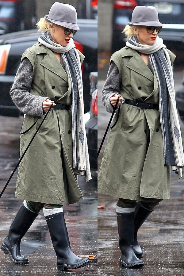 Gwen Stefani walking her new puppy on a rainy day in Sherman Oaks, Los Angeles, California on November 29, 2012