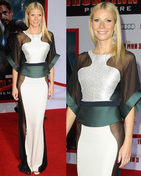 Gwyneth Paltrow in an extremely revealing Antonio Berardi gown at the Iron Man 3 premiere held at the El Capitan Theatre in Los Angeles on April 24, 2013