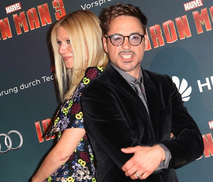 Gwyneth Paltrow and Robert Downey Jr at the premiere of Iron Man 3 held at the Grand Rex theater in Paris on April 14, 2013