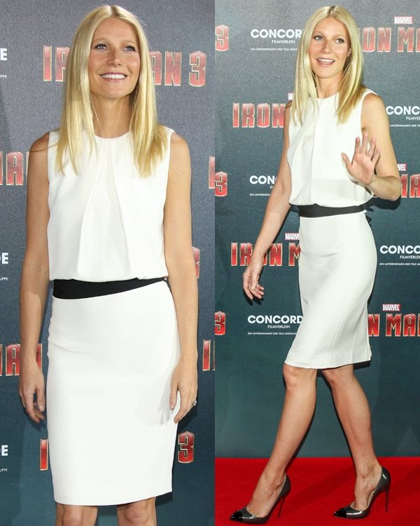 Gwyneth Paltrow flaunting her sexy legs the 'Iron Man 3' photocall at Hotel Bayerischer Hof on April 12, 2013, in Munich, Germany