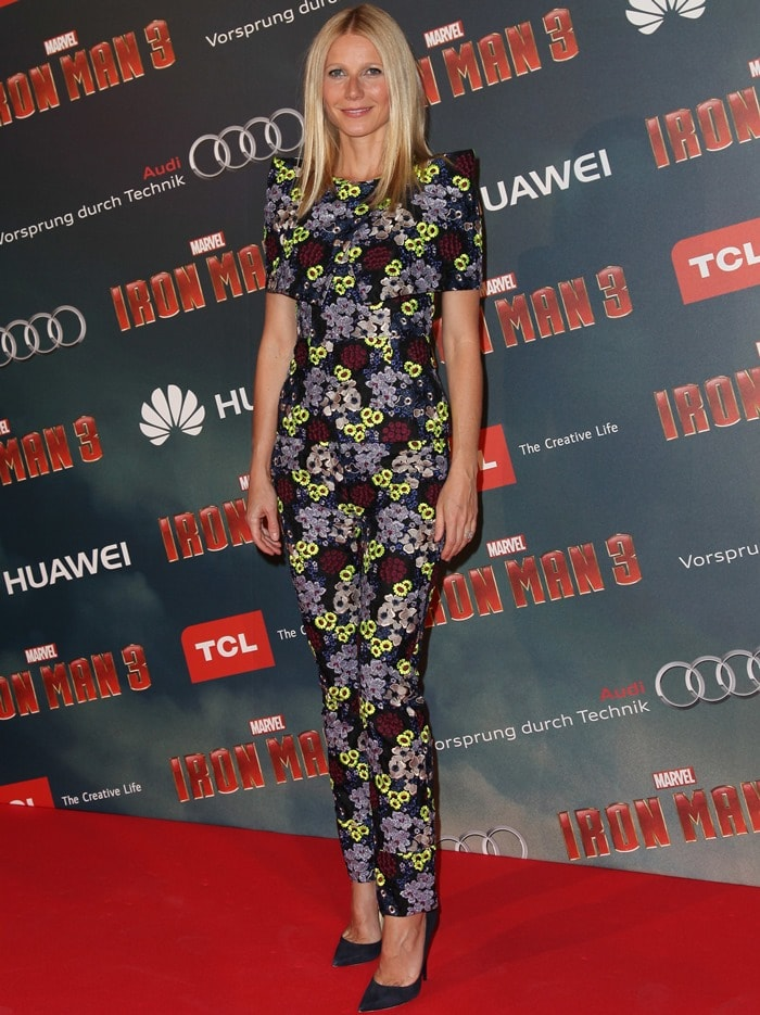 """Gwyneth Paltrow in a floral-detailed ensemble from Erdem and Jimmy Choo """"Anouk"""" pumps"""