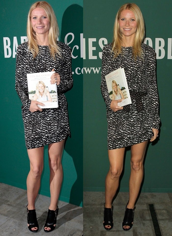Gwyneth Paltrow wore a printed mini dress from Isabel Marant and finished the outfit with mirror-heeled sandal booties from Michael Kors