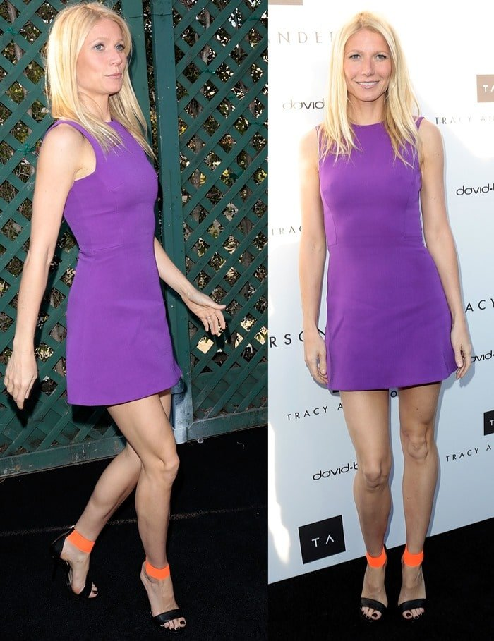 Gwyneth Paltrow wearing a purple silk and wool-blend mini dress by Victoria Beckham