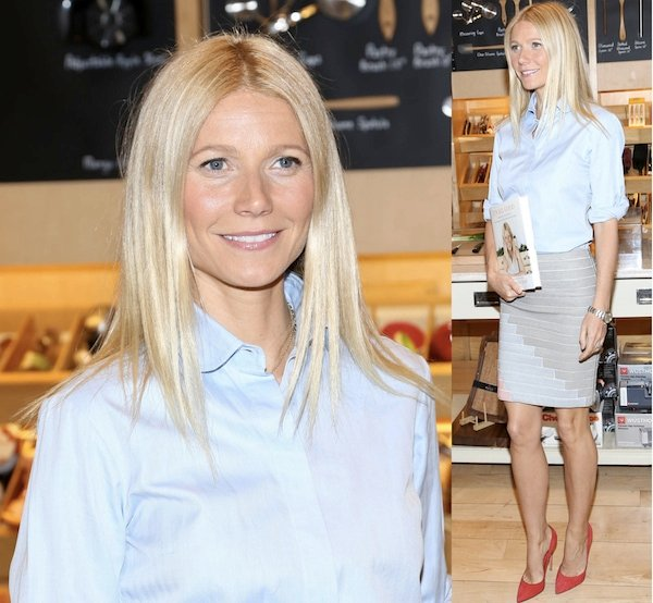Gwyneth Paltrow stayed professionally stylish in her bright red Gianvito Rossi suede pumps with a beige skirt and a blue blouse