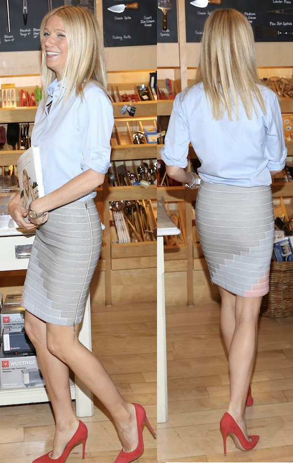 Gwyneth Paltrow wearing a beige skirt from Band of Outsiders's Pre-Fall 2013 collection and a blue blouse from Stella McCartney