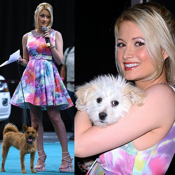 Holly Madison wore her poodle-heeled shoes to a dog show