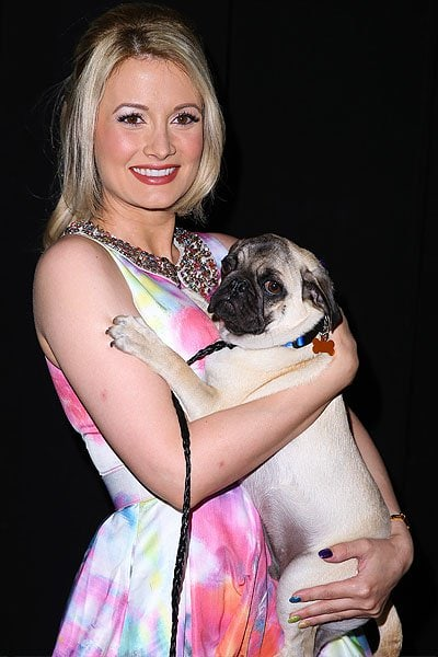 Holly Madison holding a super cute dog