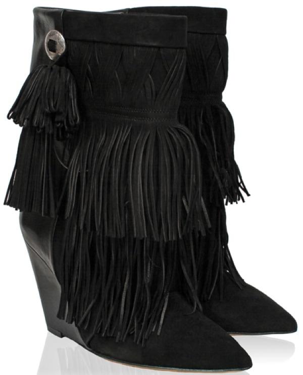sylvie van der vaart in flirty fringed isabel marant boots