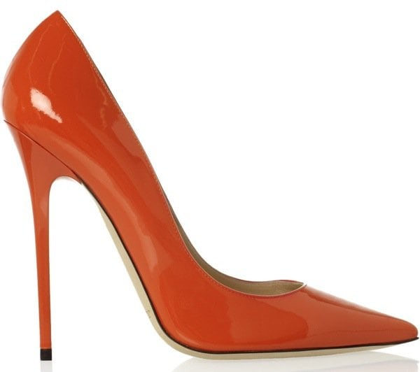JIMMY CHOO Anouk patent-leather pumps $575 Outstep