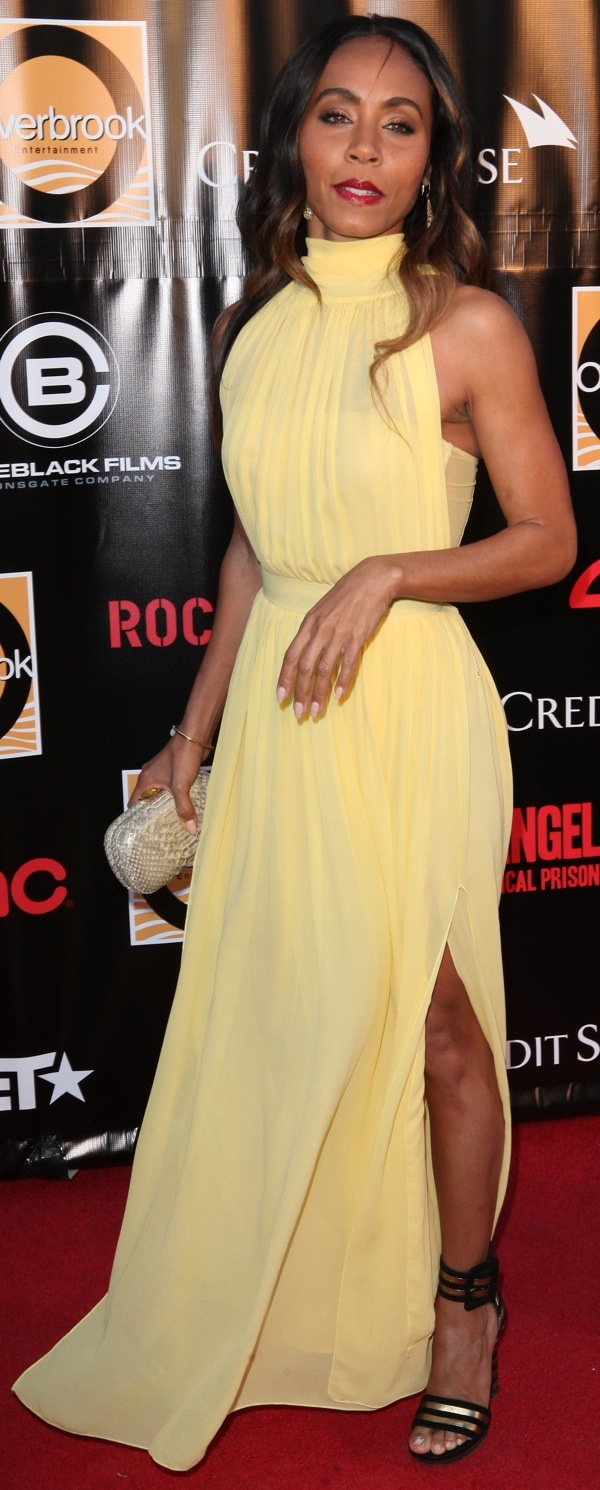 Jada Pinkett-Smith in a floor-sweeping yellow dress from Miu Miu at the New York premiere of 'Free Angela and All Political Prisoners'