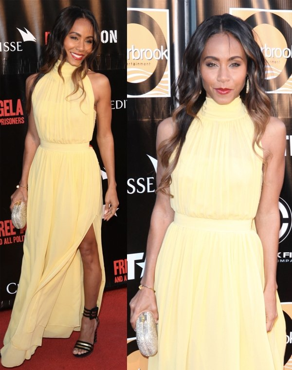 Jada Pinkett-Smith styled her sunshine-yellow halter chiffon gown with a silver box clutch by Kara Ross