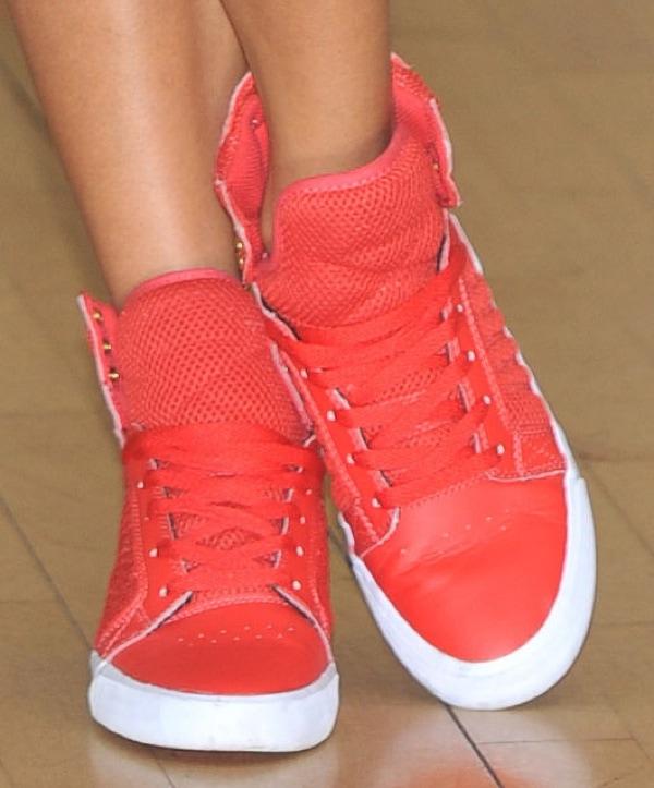Jade Ewen wearing 'Skytop' sneakers from Supra in red
