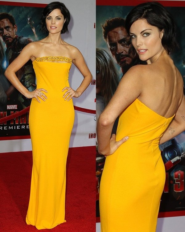 Jaimie Alexander in a strapless Marc Bouwer yellow dress at the Iron Man 3 premiere