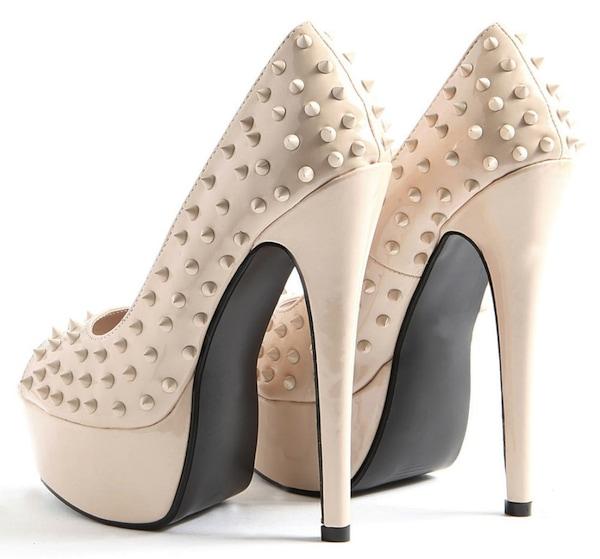 Janae Spiked Peep Toe Heels