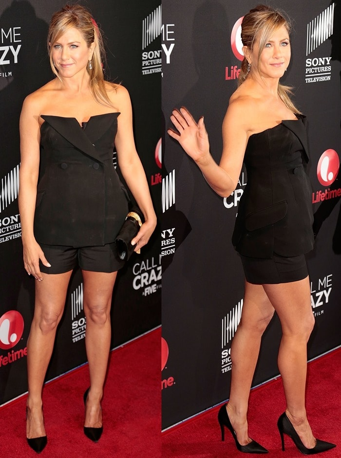 Jennifer Aniston at the world premiere of the Lifetime Original movie event, Call Me Crazy: A Five Film, at Pacific Design Center's SilverScreen Theater in Los Angeles on April 16, 2013