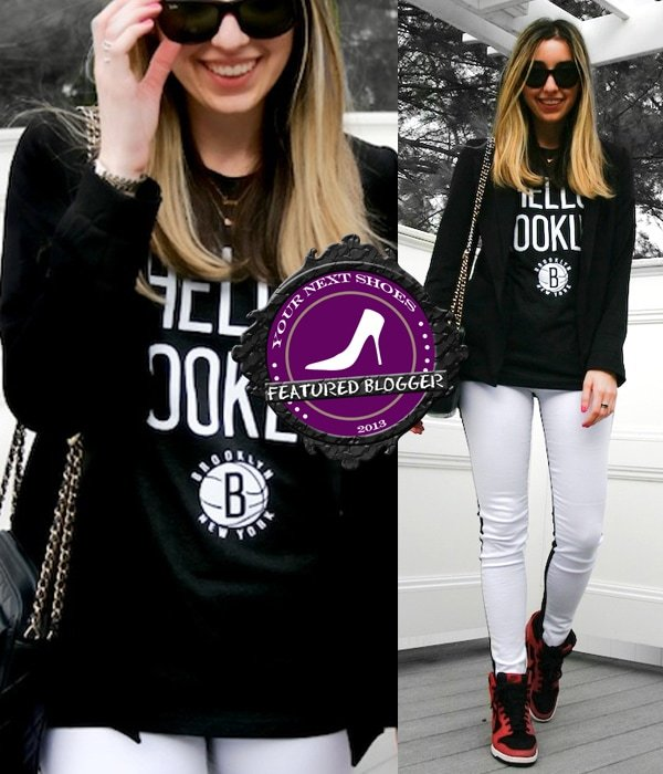 Jilly wears a monochrome outfit with Nike wedge sneakers