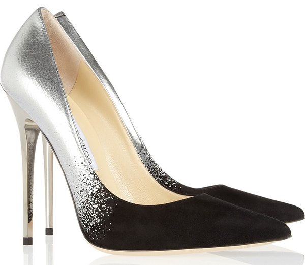 Jimmy Choo Anouk Black Suede and Silver Dégradé Pointy Toe Pumps